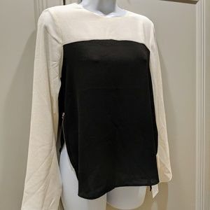 Zara Two-Tone L/S Blouse w/ zippered side vents, S